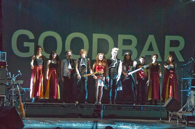 """Goodbar"" at the Public Theater  Finale. Dancers in Tibetan chupas, band in Tibetan buddhist rock clothes, and singers"