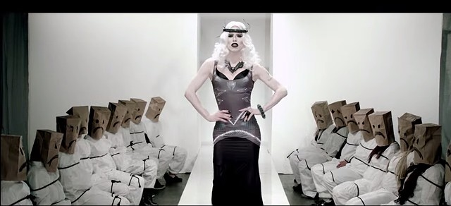 "Spider headpiece in Sharon Needles, ""Dressed to Kill,"" video"