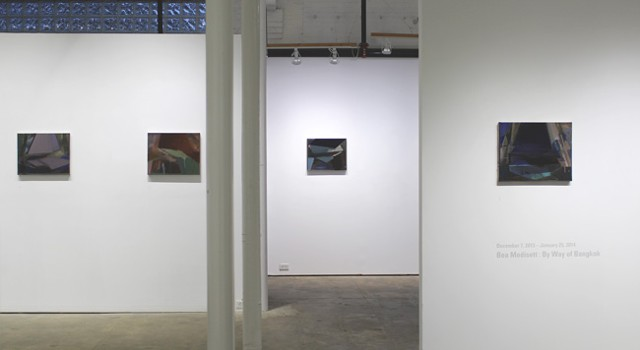 "Installation view of ""By Way of Bangkok"" on view at Boston's HallSpace."