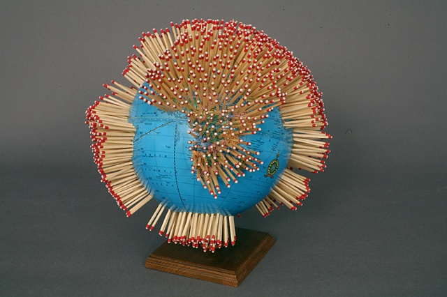 altered, alter, altered text, mapping, unique, one of a kind, cut paper, political art, sculpture, globe, power tools
