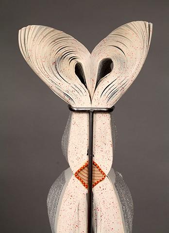 cut, deconstructed, surgeon's knives, sculpture, mask, altered, alter, altered book, altered bookwork, bookworks, unique, one of a kind, cut paper, facebook, political art, installation, unique book, power tools,