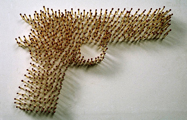sculpture, one of a kind, political art, unique, wooden matches, safety matches, explosive, time based, installation, fire, flame, dangerous