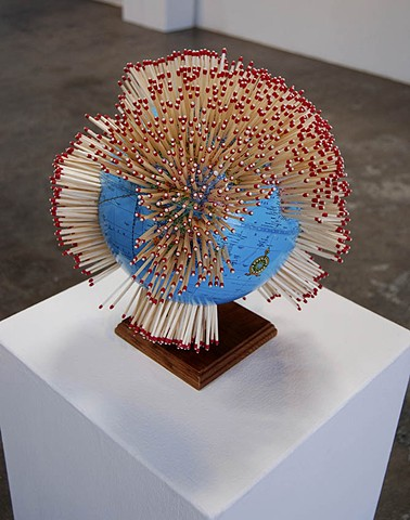 installation, exhibition, globe, sculpture, power tools,