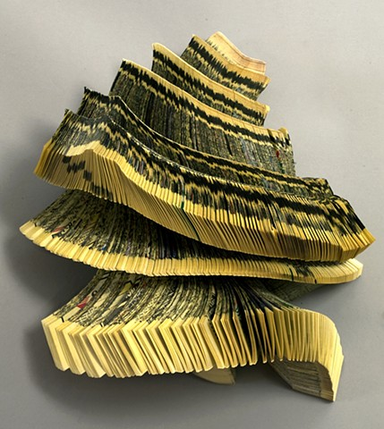 twisted, altered, alter, altered book, altered bookwork, bookworks, unique, one of a kind, cut paper, facebook, political art, installation