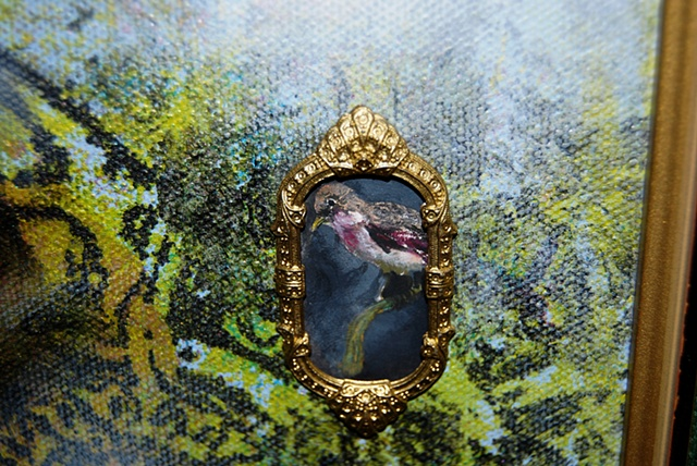 Miniature oil painting, antique gold frame, bird, screen printing by Jessica Schramm