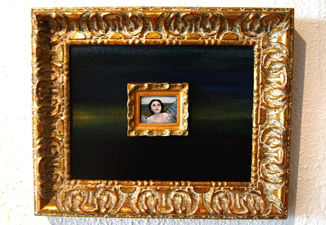 Miniature oil painting, Mnemosyne, mini, framed by Jessica Schramm