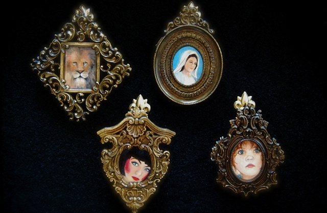 Miniature, oil painting, vintage, antique gold frames, Italy, muse, Yeats by Jessica Schramm