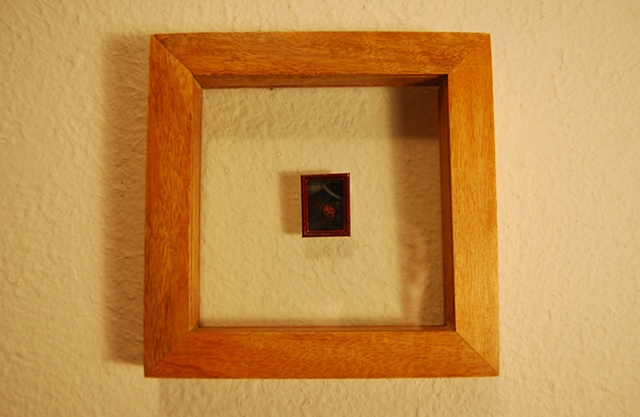 Miniature oil painting, antique gold frame, lady bug by Jessica Schramm