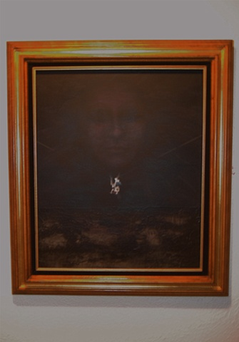 Framed, oil painting, muse, fates, puppet by Jessica Schramm