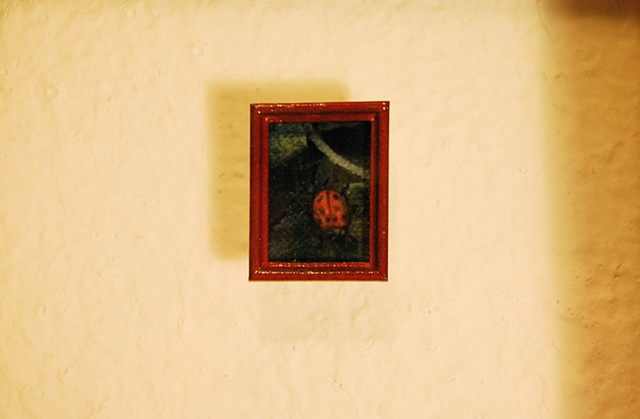 Miniature oil painting, lady bug, shadow box, study by Jessica Schramm
