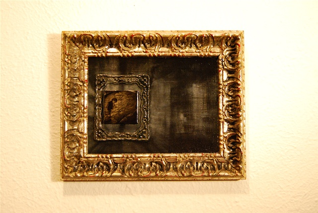 Miniature, sketch, decopage, framed painting by Jessica Schramm