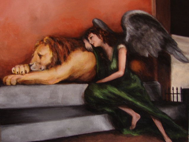 Acrylic Painting, muse, inspiration, melancholia, angel, lion by Jessica Schramm