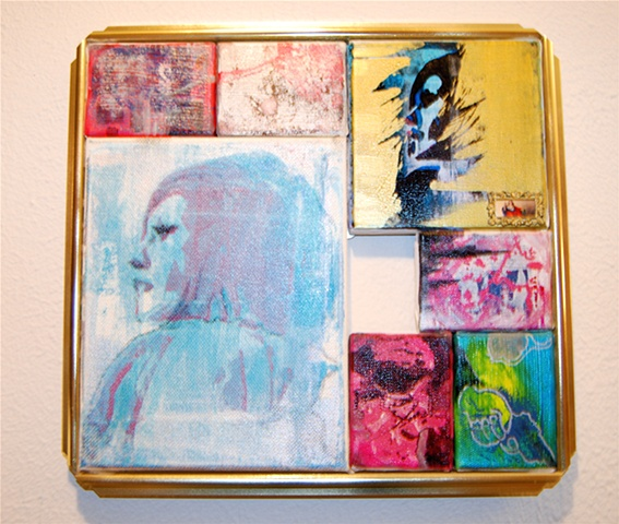 Mixed media, screen print, miniature, framed by Jessica Schramm