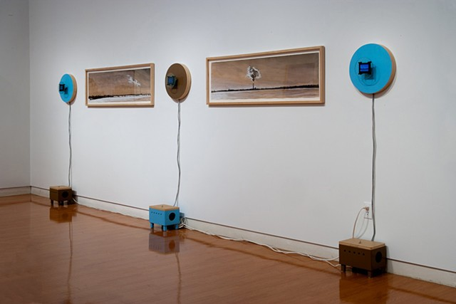 Installation of Video Constructions and Mixed Media Drawings