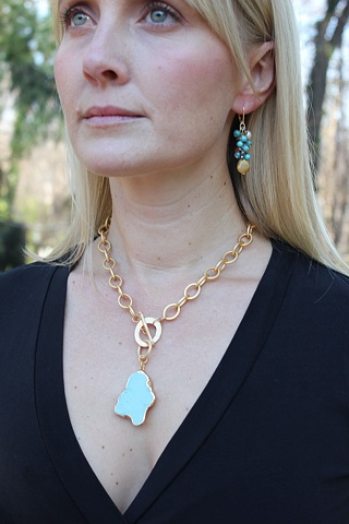 Turquoise & Matte Gold Necklace