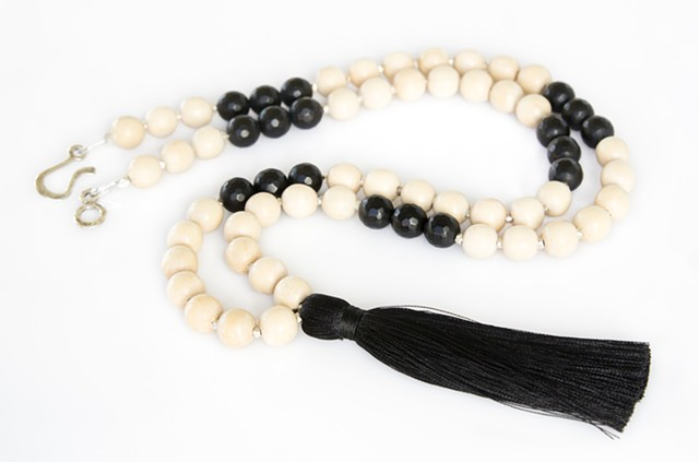 Natural Wood, Black Onyx & Tassel Necklace