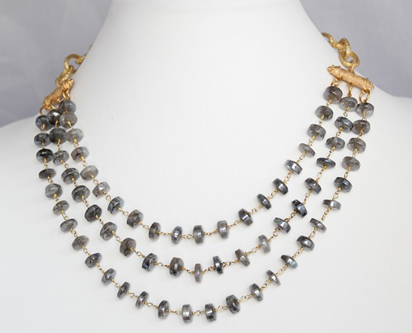 Labradorite & Matte Gold Necklace
