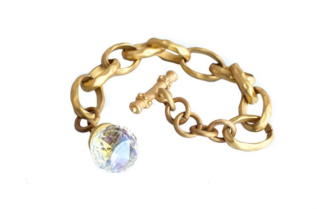 Matte Gold Link Bracelet (with Crystal)