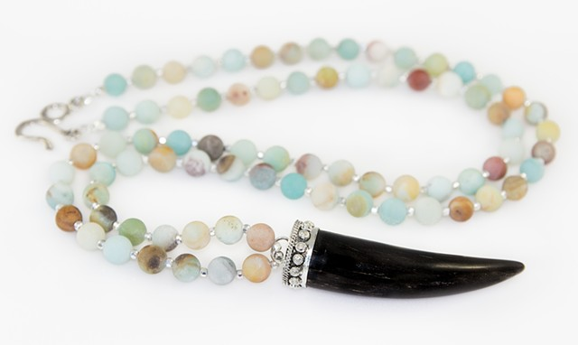Black Horn Tusk & Amazonite Necklace