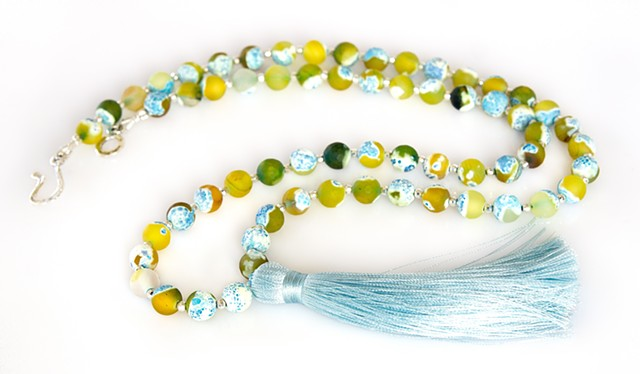 Rainbow Agate & Tassel Necklace