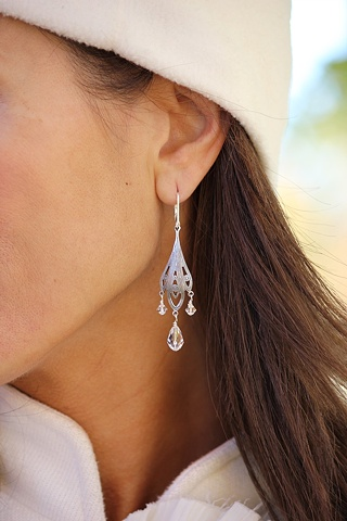 Silver & Crystal Boho Earrings