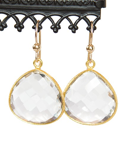Crystal Quartz & Gold Drop Earrings