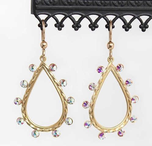 Matte Gold & Swarovski Crystal Earrings