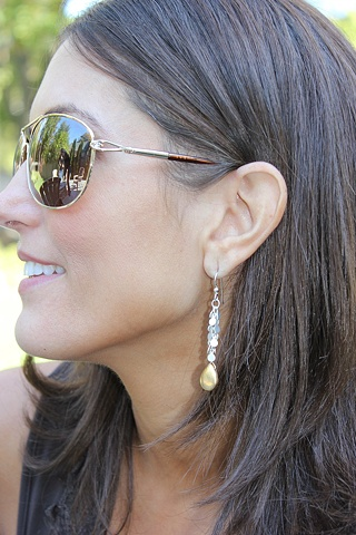 Vermeil Drop & Silver Chain Earrings