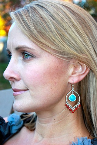 Matte Silver Earrings - Turquoise & Coral