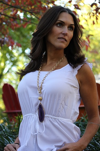 Purple Agate & Matte Gold Necklace