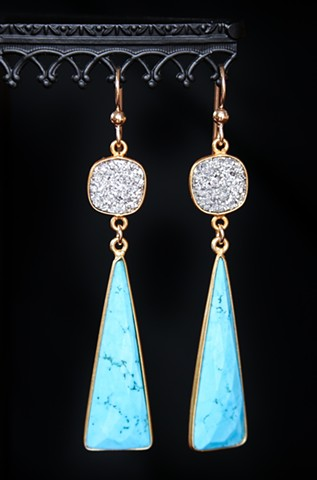 Druzy & Turquoise Drop Earrings