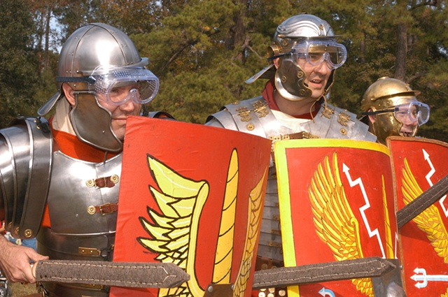 Cautious Ancient Rome Reenactors