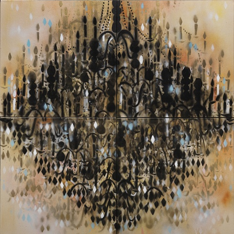 Chandelier Black, Gold