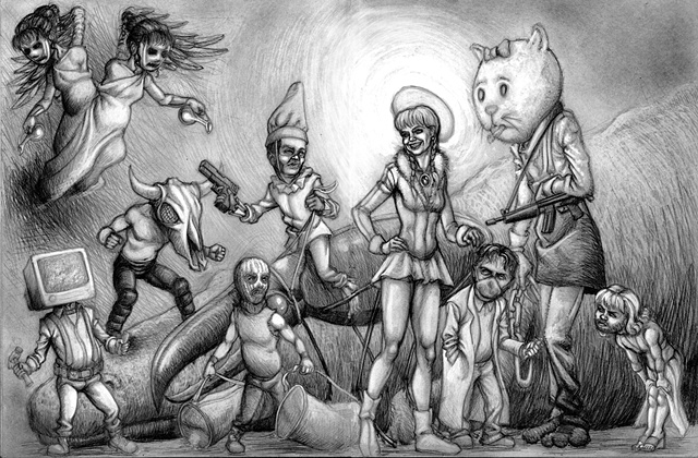 Marcus Howell, Marcus Howell art, pop surrealism, lowbrow, lowbrow art, drawing, graphite, photoshop, seven dwarves, cheerleader
