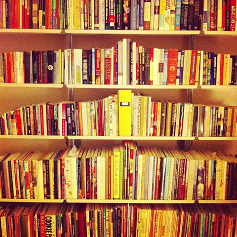 Bookshelves, arranged