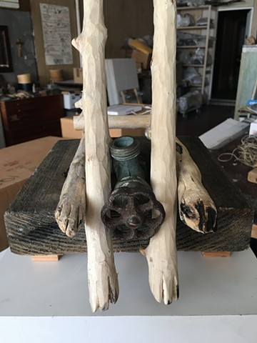 Fox legs carved from branches, hardware