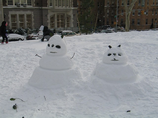 Panda shaped snowmen