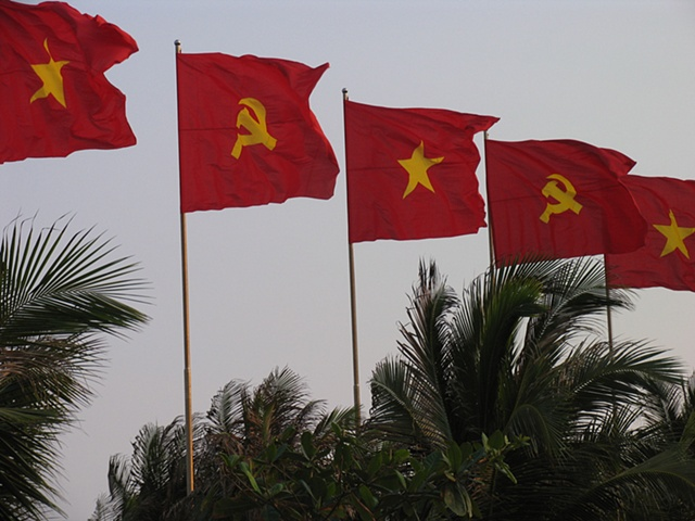 The flags of Vietnam.