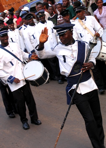 A marching band for Alumni festivities at the Prince Edward School, Freetown.