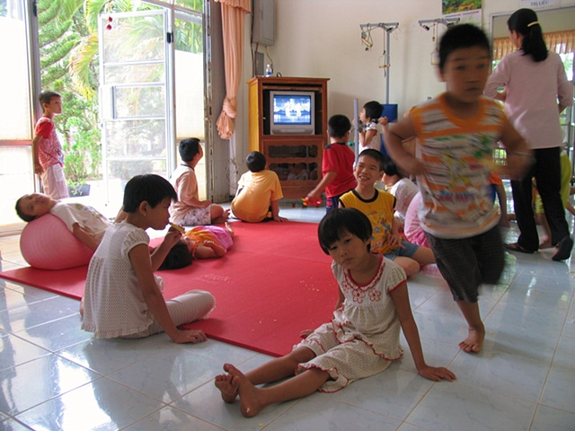 Thien Phuc, an orphanage in Cu Chi, a rural district of Ho Chi Minh City houses 70 children, all of them handicapped.  A few of the children exhibit pathologies associated with Dioxin in the landscape.