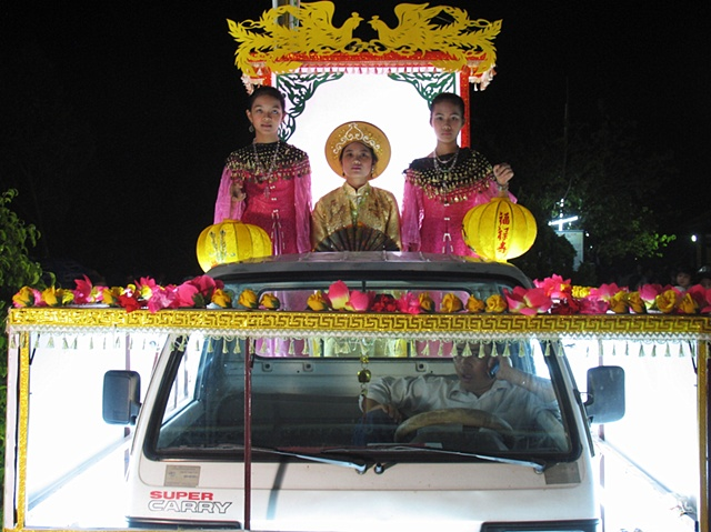 A parade float at a festival to unveil the world's largest Jade Buddha, Danang.