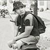 Loi on his bike, Saigon, Vietnam, 2009