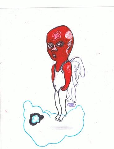 Wilfredo Mercado - Hombre Rojo con Conejo