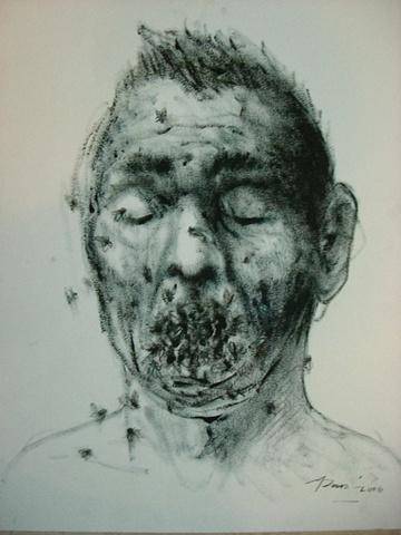 Aby Ruiz - Portrait of Dead man with flies