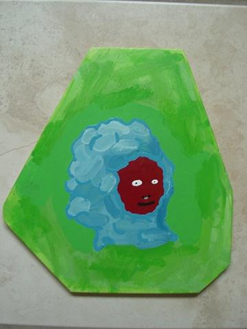 Retrato cabello azul