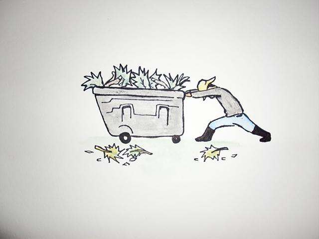 Hombre Empujando Carrito de Jardineria