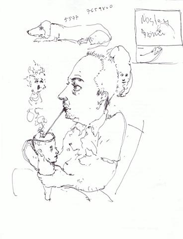 Williams Carmona - Man with Coffe Mug and Williams' Dog Picasso