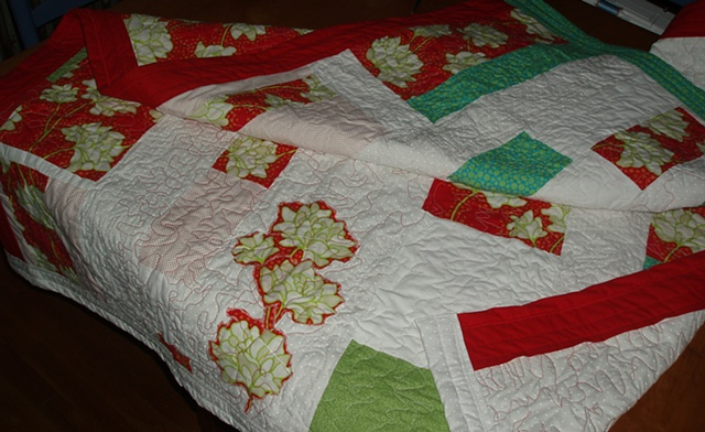 "quilted & appliqued -- ""Pop Garden"" & mised cottons (eyelet, solids, etc.)"