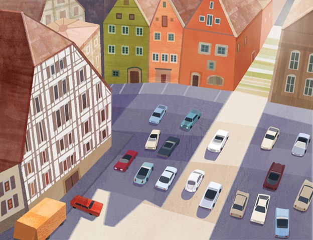 A digital illustration print of a classic car show in Schwäbisch Hall, Germany.