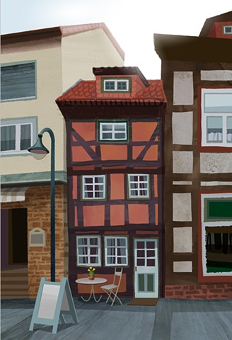 A tiny historic cafe between two more modern buildings in Northeim, Germany.